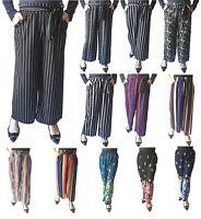 Women Palazzo Pants High Waist Wide Leg Culottes Long Crop Trousers Casual