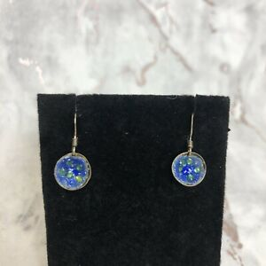 Hand Made Roma Vincent Sterling Silver Blue & Green Abstract Dangle Earrings