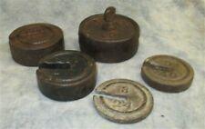 Lot Round Hanging Scale Weights Vintage Metal Industrial Fairbanks Morse a13