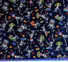 Day of the Dead Dog Fabric dia de los muertos, sugar skull, flowers BY Half Yard