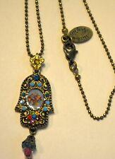 Michal Negrin  Victorian ish  Roses Cameo Swarovski Crystals Hamsa Necklace
