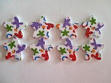 8 x 25mm STAR Shape Wooden Buttons -Bright Design - 2 Holes - No.976