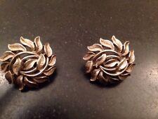 "Trifari Crown Signed Vintage Silver Tone Leaf Clip On Earrings 1"""