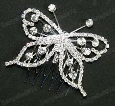 BUTTERFLY rhinestone CRYSTAL HAIR COMB silver slide/pin BRIDAL bridesmaid PROM