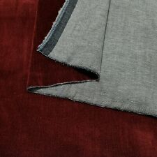 "Denim Fabric Velour Sided Burgundy Colour 2 Way Stretch 47"" Wide"