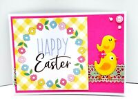 HAPPY EASTER Chick and Mom Holiday Greeting Card - Handmade A2 Size