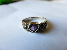 VINTAGE  STERLING  HEART SHAPED  AMETHYST  RING   SIZE  9  WITH MARCASITES