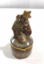 Christmas Nativity Scene Hinged Holder Clasp Opening Ceramic Hanging Ornament