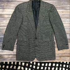 Moda Prima Men's 42L Black White 100% Silk Tweed Knit Vintage Blazer Jacket