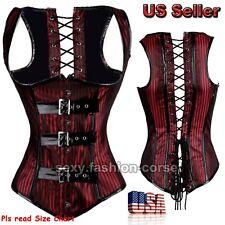 New Dark Red Stripe Gothic Underbust Corset lace Up Bone Waist Cincher Steampunk