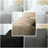 Hotel Quality Polycotton Waffle Button Duvet Cover Solid Quilt Set All Sizes