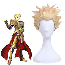 USA Ship Fate Stay Night Gilgamesh Blonde Short Curly Hair Anime Cosplay Wigs