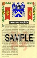 OVERTON Armorial Name History - Coat of Arms - Family Crest GIFT! 11x17