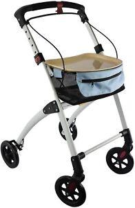 Mobility Aid Walking Frame Rollator Durable Lightweight w 4 Wheels Basket & Tray