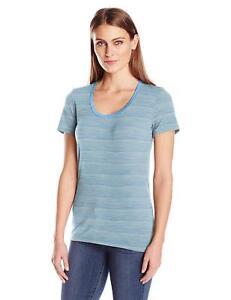 Size M - Icebreaker Tech Lite Scoop Neck T-Shirt Mist Blue HTHR/Stripe Rrp $90