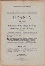 Urania, rivista, 1923, anno XII n. 1, astronomia, mineralogia, chimica, fisica