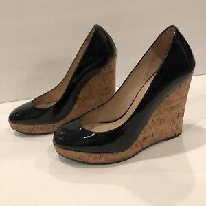 YSL Yves Saint Laurent Wedge Patent Leather Cork Pumps Heels Dark Navy 38/ 7.5