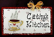 White Sign COFFEE CUP Personalized Name KITCHEN Decor Country Wall Hanger Plaque