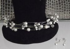 SILVER WIRE PEARL & CRYSTAL CHOKER NECKLACE & EARRING SET, BRIDAL,NEW,AUSTRALIAN