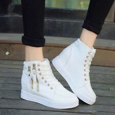 Korean White Leather Hidden Wedge Sneaker Rubber Shoes FREE SHIPPING