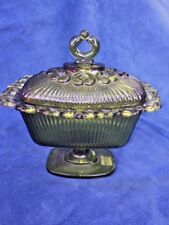 ANTIQUE Forest Green Glass Queen's Lace Crown Scalloped Pedestal Bowl Compote