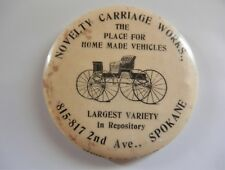 Antique Novelty Carriage Works Button Mirror - Spokane Wa buggies 1889 + badge