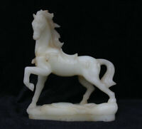 """11,2 """"Chine Jade Blanc Sculpté Feng Shui Cheval Courant Cheval Statue Animale ch"""