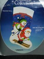 Vintage Paragon Skiing Santa Christmas Stocking Felt Applique Kit NEW Ski Snow