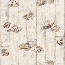 RASCH WOOD PANEL PATTERN SEA SHELL MOTIF OCEAN BATHROOM WALLPAPER CREAM BROWN