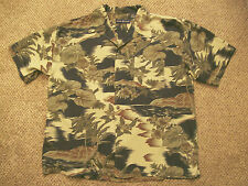 Mens Tropical Shirt Olive Gr Blk Tan S/S World Island Size L Rayon