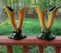 Vintage (2)  Hull Double Calla Lily Fluted Flower Vases #103