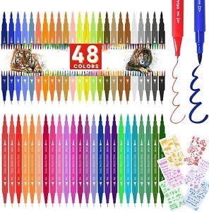 Supchamp Pennarelli Doppia Punta, 48 Brush Pen Lettering con 6...