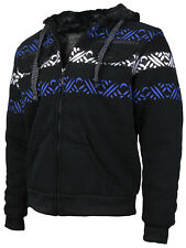 EKZ Men's Geo Tribal Fleece Zip Up Sherpa Lined Graphic Hoodie Jacket