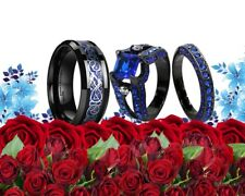 HIS TUNGSTEN AND HER BLACK BLUE CZ 3PCS COUPLES BAND ENGAGEMENT WEDDING RING SET