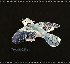 Bamboo Jewelry BLUE JAY Cloisonne Pin STERLING Silver Bird + Gift Wrapped Box