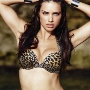 Victorias Secret Very Sexy Bombshell Skulls  Leopard Animal Print Bikini Top 36B