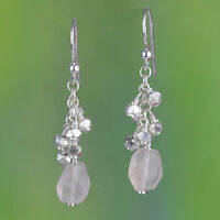 925 Sterling Silver Rose Quartz gemstone earrings jewelry 3.34g handmade