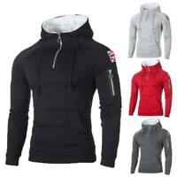 Men Winter Warm Fleece Hoodie Hooded Zip Pullover Sweatshirt Sweater Jumper Coat