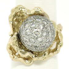 14K Two Tone Gold 1.77ctw Diamond Dome Ball Cluster Nugget Coral Reef Ring
