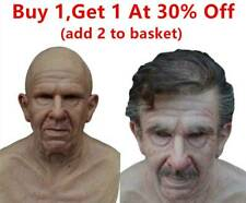 Halloween Ugly Scary Wrinkled Realistic Old Man Silicone Mask Props Adult Mens