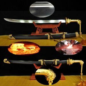 TianZi Seventeen Bao Teng waist knife Multiple-refined Steel Brass 24k Gold#2235