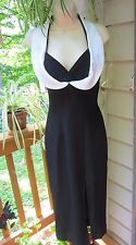 Vintage Lillie Rubin Black & White Halter Dress~Deep Plunge Neckline~SEXY~SM
