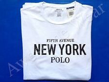 New Ralph Lauren Polo Custom Fit 100% Cotton White New York T Shirt Slim sz XXL