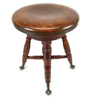 Antique Piano Stool Ball & Claw Foot Adjustable Swivel Beautiful Red Wear Finish