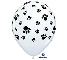 "10 Paw Print Puppy Dog 11"" Latex Balloons Birthday Black White Party Supplies"