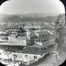 Antique Magic Lantern Glass Slide Photo Spezia Italy City View Harbor C1900