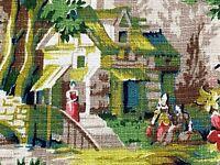 SALE Thomas Kinkade Style Pastoral Barkcloth Vintage Fabric Yardage Cottage Life