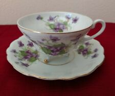 Delicate Cup and Saucer - Violets - 3 footed