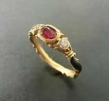 Georgian Style Unique 14K gold Genuine Fine Ruby and Diamond enamel ring