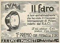 Z0852 LUMA il faro a luce antiabbagliante - Pubblicità del 1929 - Advertising